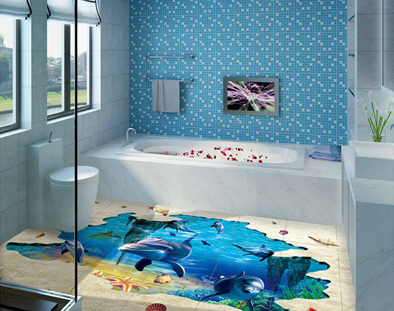 3D Bathroom Highlighters & Floor glass